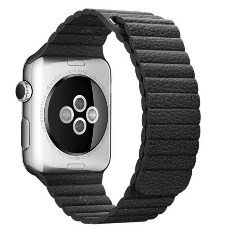 Curea iUni compatibila cu Apple Watch 1/2/3/4/5/6, 38mm, Leather Loop, Piele, Black
